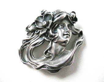 Large Art Nouveau Style Sterling Silver Brooch Pendant Of Woman With Flowing Hair
