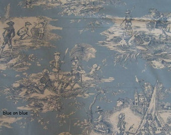 Fabric French toile de jouy  by Thevenon one  fat quarter 18  L x 26 W inches choice of 10 colours