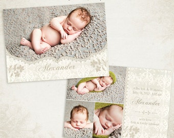 Birth Announcement Template - 7x5 Photo Card - Sweet Baby 07 - ID063, Instant Download
