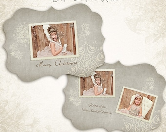 Ornate Christmas Card Template -  5x7 photo card template - for photographers and personal use- 001, ID018, INSTANT DOWNLOAD