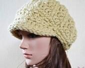 Newsboy Slouchy hat - OLIVE BEIGE - womens teen girls - accessories - Wool Woolen