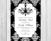 Birthday, Bachelorette, Bridal Shower Invitation - Black and White Damask with Chandelier - DIY - Printable