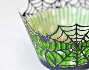 20 Spider Web Halloween Laser Cut Cupcake Wrappers Wraps - 15 Colors Available