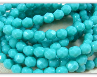 Czech Beads, 6mm Czech Glass Fire Polished Beads, 6mm Faceted Round Beads - Tropical Turquoise Glass Beads (FP6/N-077) - Qty. 25