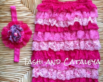 vintage bubblegum hot pink lace romper with matching headband. Size 0-3mo 6mo-2t 2t-4t photo prop birthday pageant vintage look