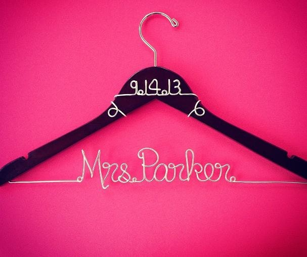 Personalized custom wire wedding hanger and date bridal for Wedding dress hangers with name