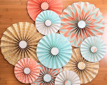 "Set of 10 Large 12""/ 9""/ 6"" Paper Rosettes/Fans - Salmon, Mustard and Aqua"