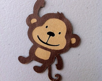 Set of 15 Monkey Die Cuts - Brown & Tan