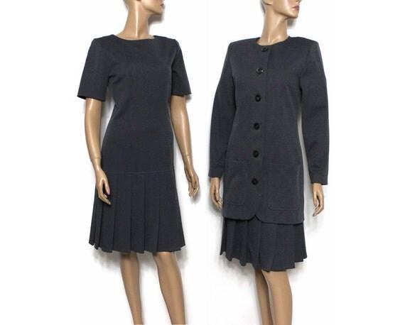 Vintage 1960s Dress Jacket Dark Gray Rockabilly Garden Party Mad Men Couture Pinup Bombshell Cocktail Femme Fatale Designer