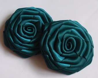 2 Handmade Roses (2.5 inches) in teal MY-003-71  Ready To Ship