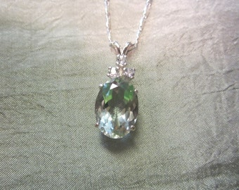 Beautiful Oval Natural Accented Green Amethyst Pendant