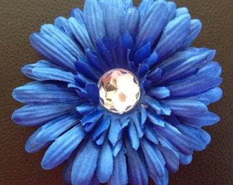 4 Inch Blue Gerber Daisy Flower Hair Clip
