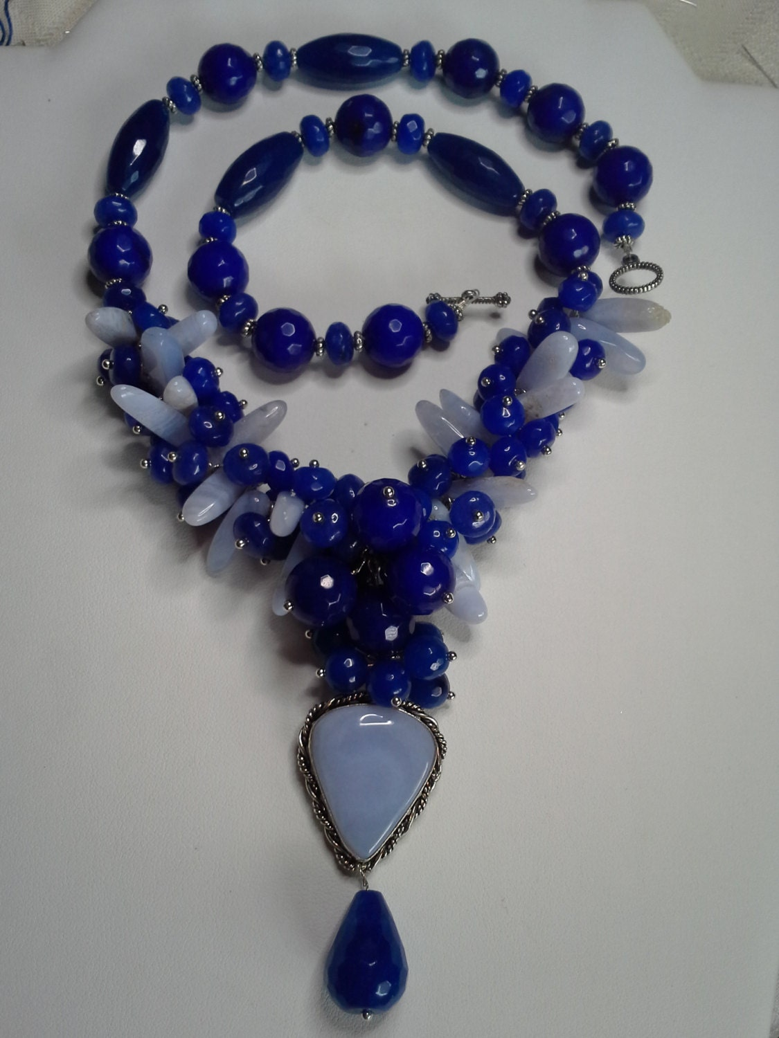 blue sapphire necklace with chalcedony pendant multi gem. Black Bedroom Furniture Sets. Home Design Ideas