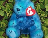 Retired TY Attic Treasures - Azure Bear - 1993 - Mint Condition