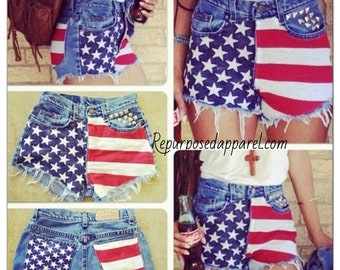 Low rise or  Vintage High waisted frayed studded american flag cut off shorts custom made