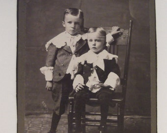 ANTIQUE  PHOTOGRAPH BROTHERS Edwardian Siblings Vintage Photo