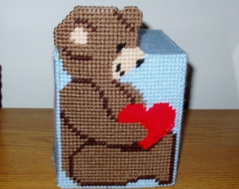 Teddy Bear Tissue Box Cover in Blue Plastic Canvas Needlepoint