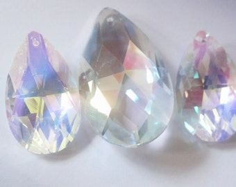 Set 3pc Set Asfour Teardrop Crystals for Princess Crowns AB Iridescent 63mm and 50mm Chandelier Prisms