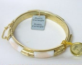 Vintage Hattie Carnegie Lord Taylor Bangle Clamper Bracelet White Marbled Glass in Gold