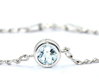 1 Carat Natural Aquamarine Round Bezel Bracelet .925 Sterling Silver Rhodium Finish White Gold Quality