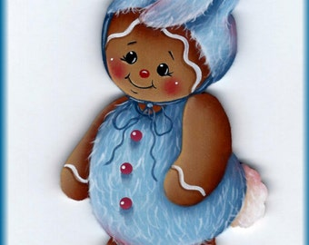 Blue Bunny Gingerbread Painting E-Pattern