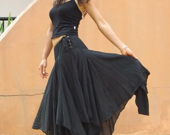 Boho Long Skirt .....Long Skirt ...Color Black