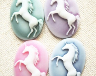 8 pcs of resin unicorn cameo 18x25mm-RC0209