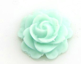 12 pcs  of resin flat rose cabochon-16mm-0470-44-mint green