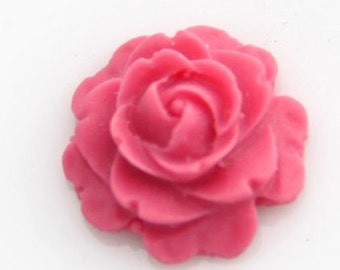 20 pcs  of resin flat rose cabochon-16mm-0470-4-fuchsia