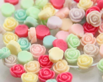 24 pcs of  tiny resin rose cabochon 8mm -0622-mix color