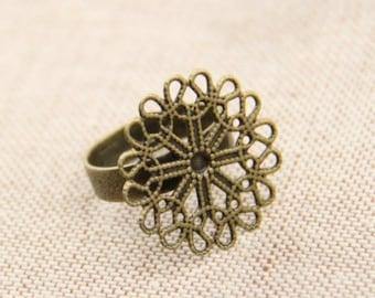 12 pcs of filigree ring base 23mm adjustable-4058-antique bronze