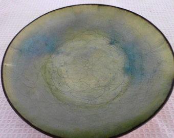 Vintage Leon Statham signed mid century enameled copper bowl