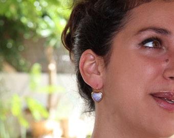 White Opal Dangle Earrings, Bridel earrings, Heart Shape Earrings, Glass Earrings, White Wedding Jewelry, October Birthstone, Post Earrings.
