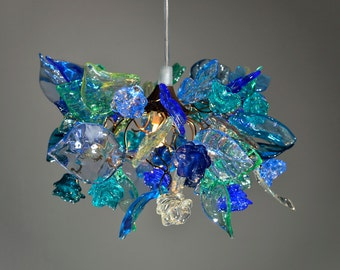 Pendant light with sea color flowers and leaves, hanging chandelier for bedroom, children room entry way.