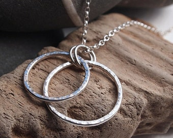 Silver Necklace, Sterling Silver Ring Pendant, hammered silver rings necklace with chain option handmade by ARC Jewellery UK