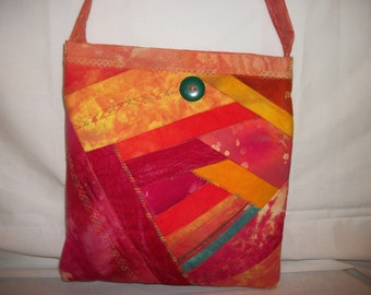 Quilted Handbag Purse Messenger Bag with Pockets - Batik & Hand Dyed Fabric - Log Cabin and Crazy Block Patchwork