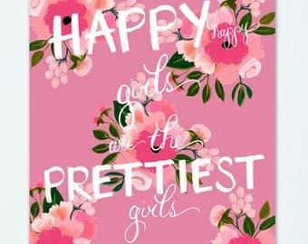 Happy Girls {8.5 x 11 Art Print in Bright Pink}