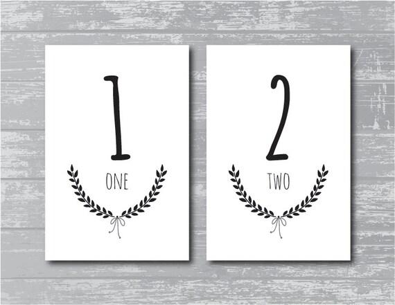 INSTANT DOWNLOAD - Laurel Wedding Reception Table Numbers 1-10 DIY ...