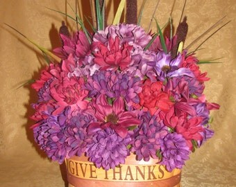 Purple and Burgandy Fall Autumn Floral Basket, Fall Floral Arrangement, Autumn Floral Arrangement, Artificial Floral, Thanksgiving Floral