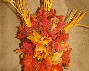 Pumpkin Floral Arrangement with Leaves and Feathers, Floral Arrangement, Pumpkin Floral, Artificial Floral, Fall Floral, Autumn Floral