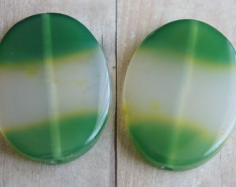 Bead, precious, gemstone, natural, stone, nugget Green Agate Oval Focal Pendant Beads -2