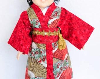 American Girl, Japan, Kimono, 18 Inch Doll Clothes, Red & Gold, headband, Dress