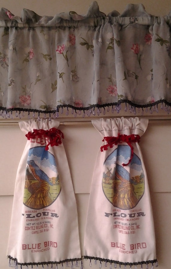 Flour sack curtains by OriginalsByEva on Etsy
