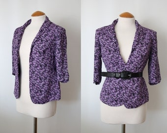 90s Floral Print Blazer / Vintage Jacket / 1990s Purple Blazer / 3/4 Sleeves