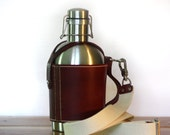 SS Growler Leather Carrier w/ Shoulder Strap and Insulated Stainless Steel Beer Growler