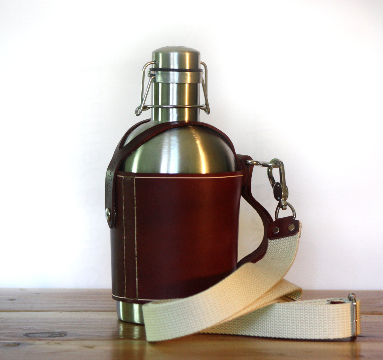 Ss Growler 174 Leather Carrier W Shoulder Strap And Stainless