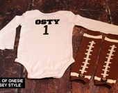 Personalized Football Jersey Style Custom Shirt and Football Leg Warmer Set
