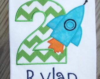 Personalized Rocket Birthday Shirt. 1st Birthday, 2nd Birthday, 3rd Birthday, 4th Birthday, 5th Birthday.