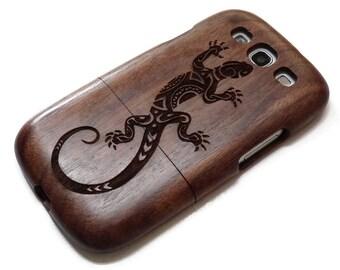 Samsung Galaxy S3  case - wooden S3 case walnut / cherry or bamboo -  Lizard