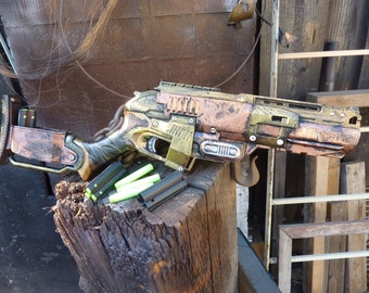 STEAMPUNK Zombie Strike SLEDGEFIRE Nerf Gun Fire 3 darts at once